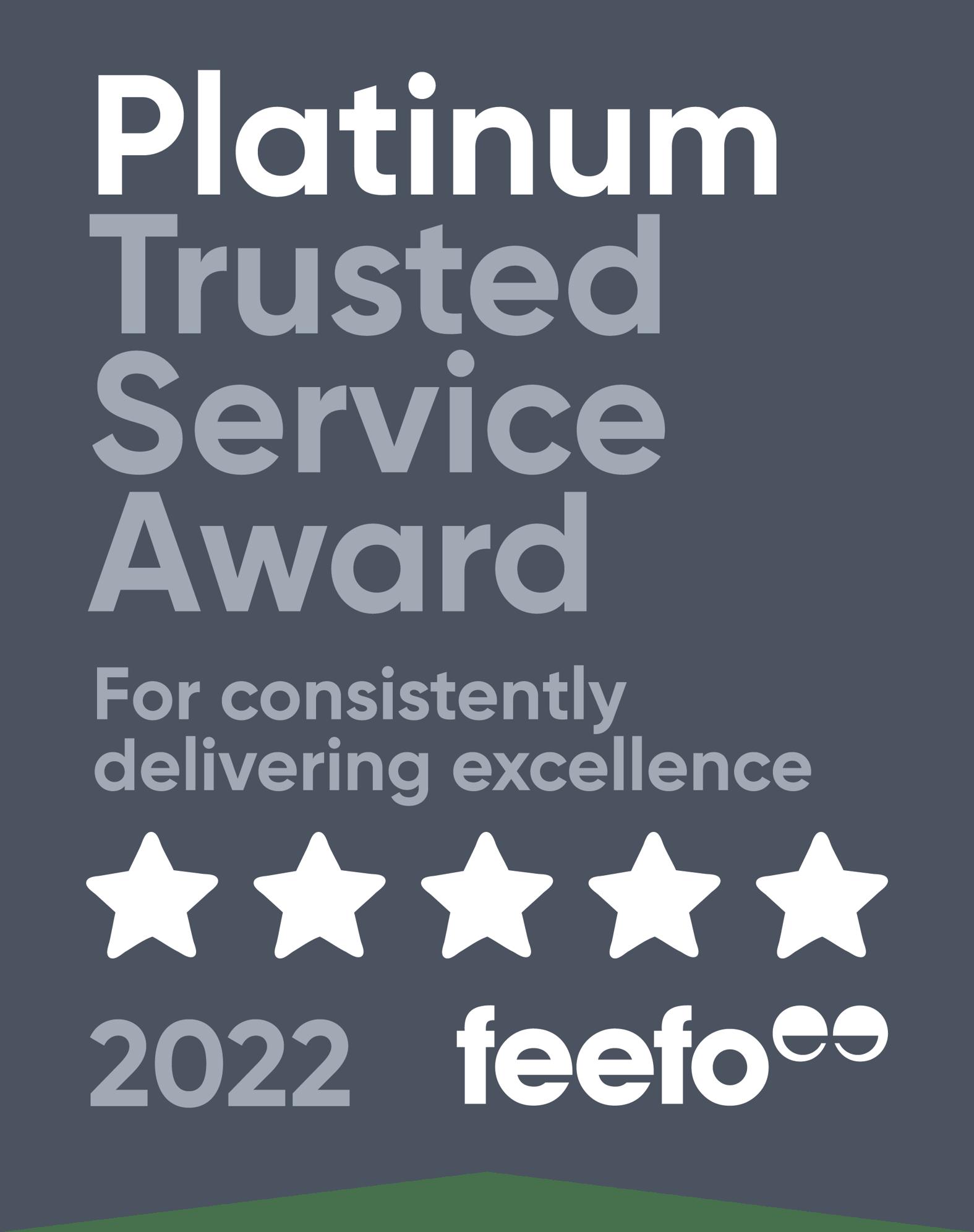 Feefo Platinum Service Award 2021dark