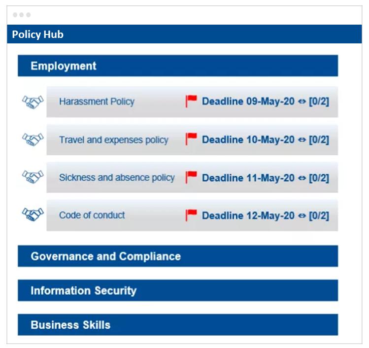 Policy Hub Main Screen
