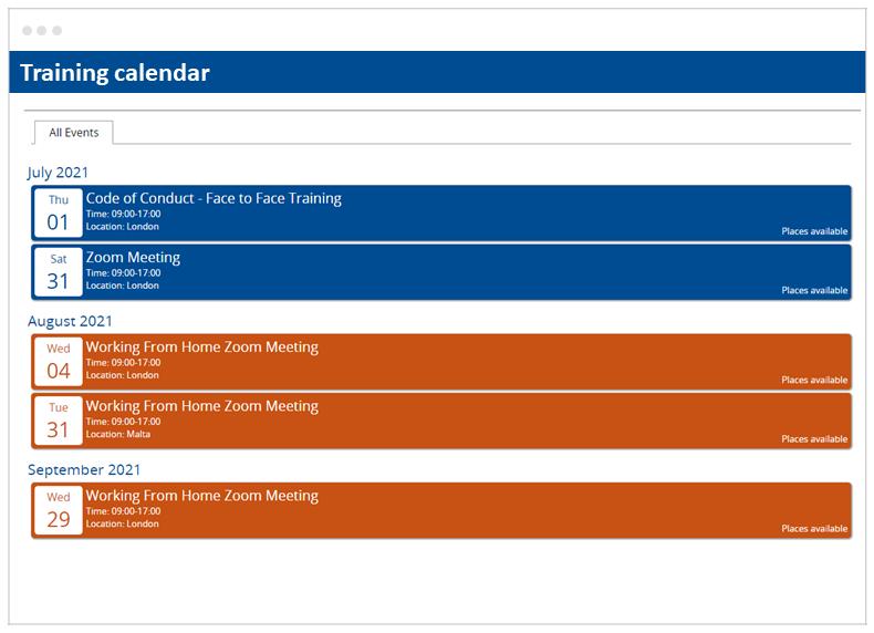 Skillcast EMS Training Calendar