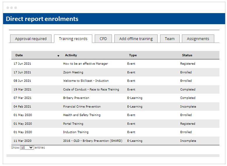 Skillcast EMS Direct Report Enrolments