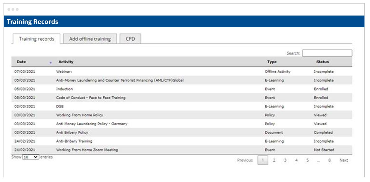 Skillcast Offline Activities Register