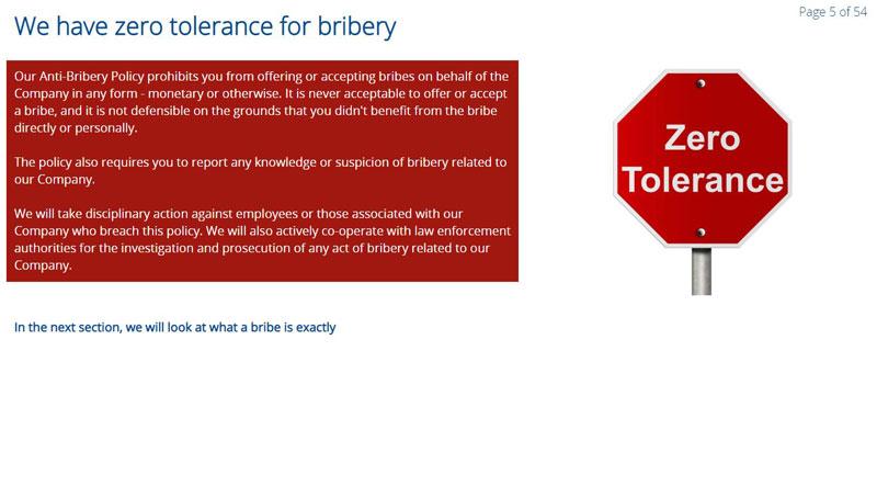 Bribery zero tolerance